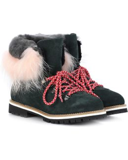 Fur-trimmed Leather Ankle Boots