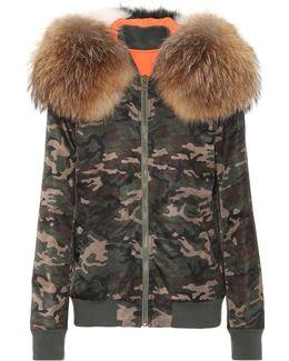 Camouflage Fur-trimmed Coat