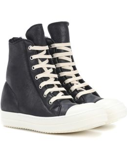 Shearling-lined Leather Sneakers