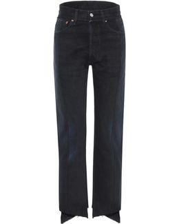 High-waisted Deconstructed Jeans