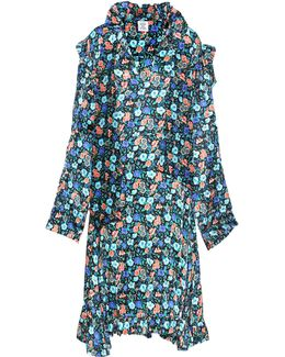 Floral-printed Silk Dress