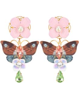 Crystal And Leather-embellished Clip-on Earrings