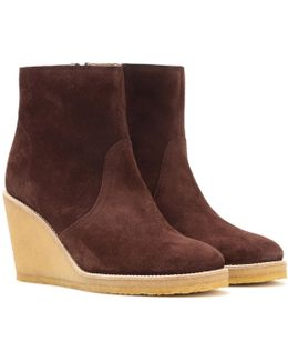 Gaya Suede Wedge Ankle Boots