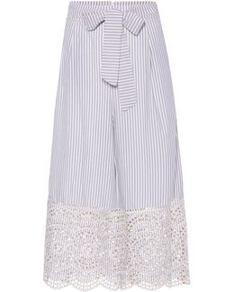 Meridian Striped Cotton Culottes