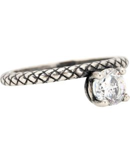 Cubic Zirconia-embellished Silver Ring