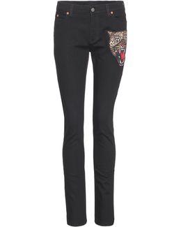 Appliquéd Skinny Jeans