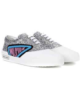 Glitter And Leather Sneakers