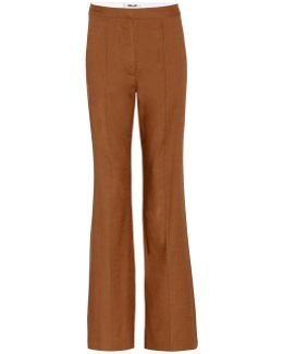 Linen-blend Flared Trousers