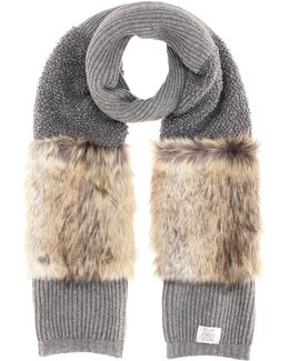 Faux-fur Trimmed Wool Scarf