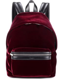 Velvet And Leather Backpack