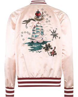 Embroidered Silk Satin Bomber Jacket