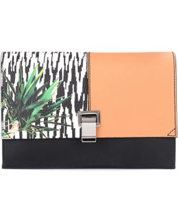 Small Lunch Printed Leather Clutch