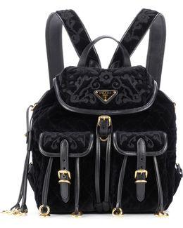 Quilted Velvet Backpack