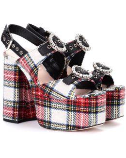 Multicolor Tartan Platform Sandals
