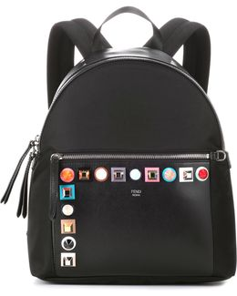 Studded Leather And Canvas Backpack