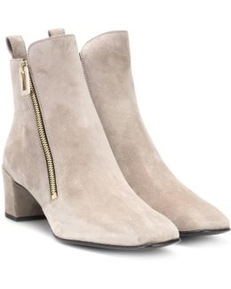 Polly Zip Suede Ankle Boots