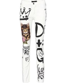 Printed Cropped Jeans