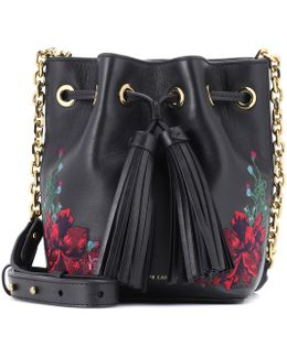 Embroidered Leather Bucket Bag