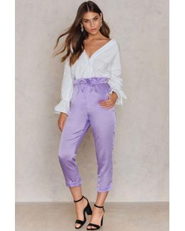 Satin Paperbag Waist Trousers