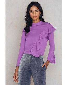 High Collar Long Sleeve Blouse