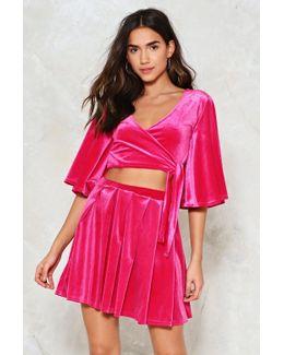 Box Pleat Velvet Skater Skirt In Lipstick Pink Box Pleat Velvet Skater Skirt In Lipstick Pink