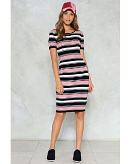 Ribbed Stripe Midi Dress Ribbed Stripe Midi Dress