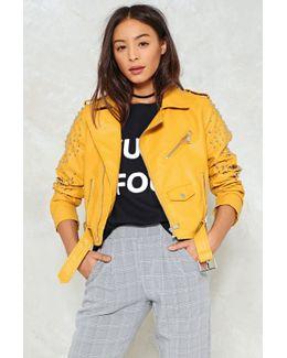 Pu Moto Jacket With Studs On Arm Pu Moto Jacket With Studs On Arm
