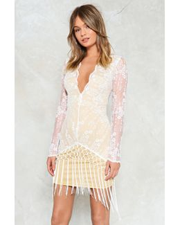 Set The Lace Fringe Dress