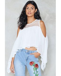 Dobby Spot Cold Shoulder Top