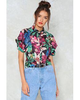 Hawaiian Print Puff Sleeve Shirt Hawaiian Print Puff Sleeve Shirt