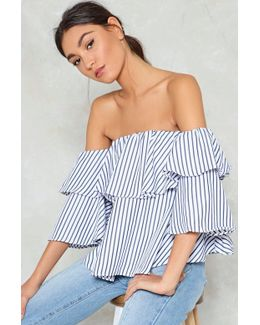 Play Your Cards Stripe Off-the-shoulder Top