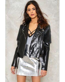 Faux Fur Detail Oversized Vegan Leather Jacket Faux Fur Detail Oversized Vegan Leather Jacket