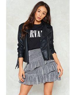Metallic Glitter Ruffle Mini Skirt Metallic Glitter Ruffle Mini Skirt