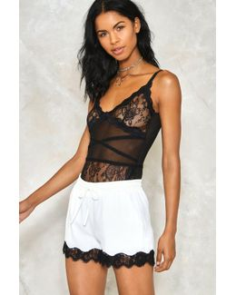 Past Curfew Lace Trim Shorts