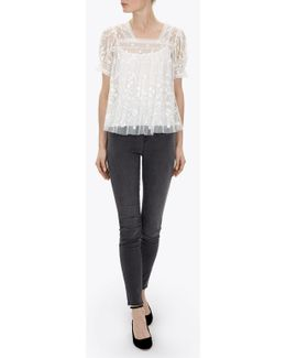 Cotton Tulle Embroidery Top