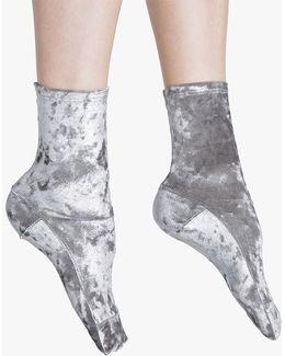 Silver Foil Crushed Velvet Socks