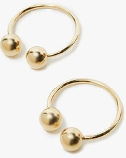 Double Ball Hoop Earrings In Gold