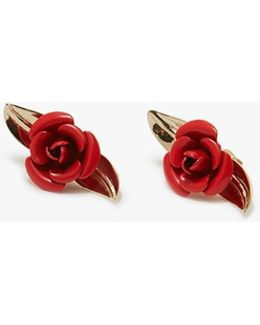 Small Rosebud Earring In Red