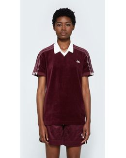 Velour Polo In Maroon