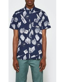 S/s Flammable Shirt In Blue/white