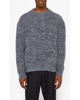 Crew Neck Ls Sweater In Open Grey