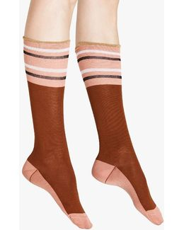 Sock In Raisin Cotton And Nylon