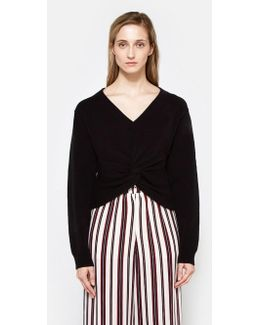 L/s Deep V Twist Front Sweater In Black