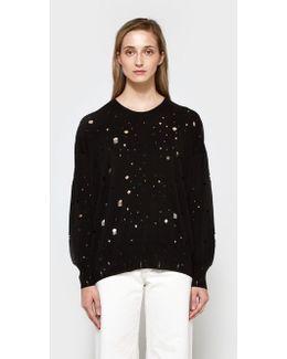 L/s Oversized Crew Neck Sweater In Black