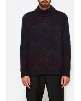 Crew Neck Ls Sweater In Open Red