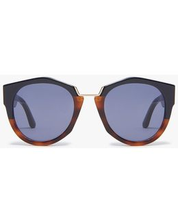 Driver Round Frame Sunglasses In Blue