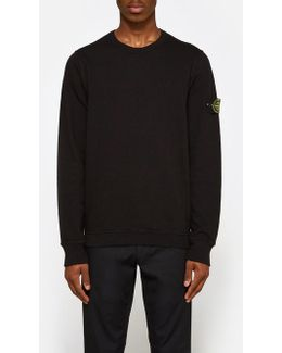 Slub Effect Sweatshirt Garment Dyed In Black