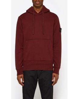 Cotton Fleece Garment Dyed Sweatshirt In Burgundy