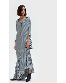 Lily Dress In Stripe Silk Twill