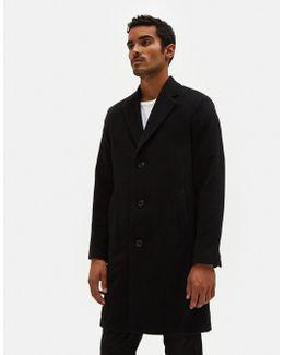 Unconstructed Classic Coat Soft Black Wool